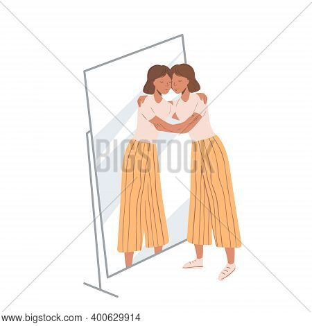 Woman Standing Near The Mirror And Hugging Her Own Reflection. Concept Of Self-love And Self-accepta