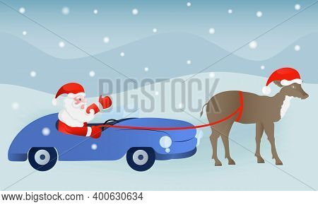 Vector Christmas Illustration With Santa Claus, Deer And Car On A Colored Background With Snowdrifts