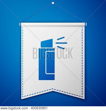 Blue Pepper Spray Icon Isolated On Blue Background. Oc Gas. Capsicum Self Defense Aerosol. White Pen