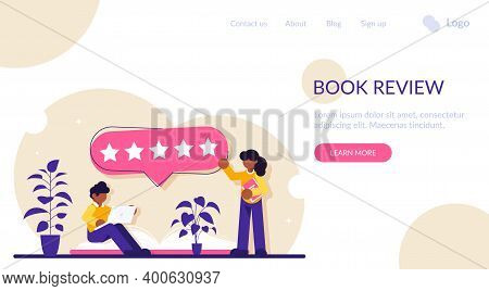 Book Review Concept. Readers Give The Highest Rating. Five Stars For Quality. Modern Flat Illustrati