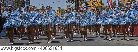 Arica, Chile - January 22, 2016: Women Of A Caporal Dance Group Performing At The Annual Carnaval An