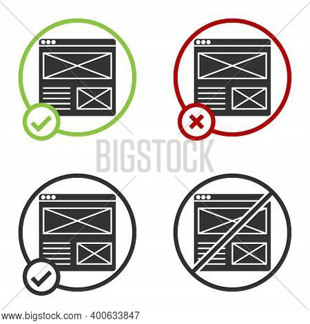 Black Browser Window Icon Isolated On White Background. Circle Button. Vector