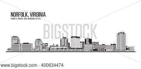 Cityscape Building Abstract Simple Shape And Modern Style Art Vector Design - Norfolk City, Virginia