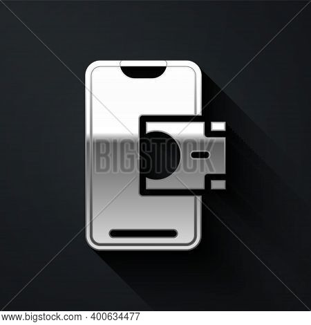 Silver Mobile Banking Icon Isolated On Black Background. Transfer Money Through Mobile Banking On Th