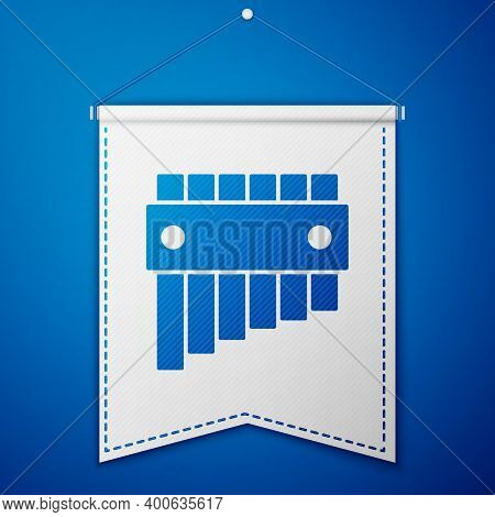 Blue Pan Flute Icon Isolated On Blue Background. Traditional Peruvian Musical Instrument. Folk Instr