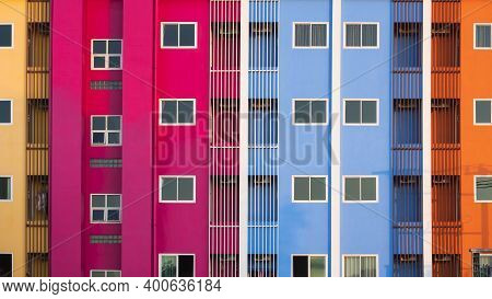 Glass Windows And Safety Baluster On Colorful Building Wall For Exterior Architecture Concept