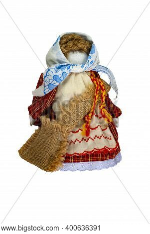 Traditional Home-made Russian Doll Made Of Fabric. Baby Doll With A Cloth Bag.