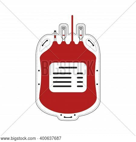 Blood Container Cropped Icon. Plastic Blood Bag. Capacity For Blood Transfusion And Transportation.
