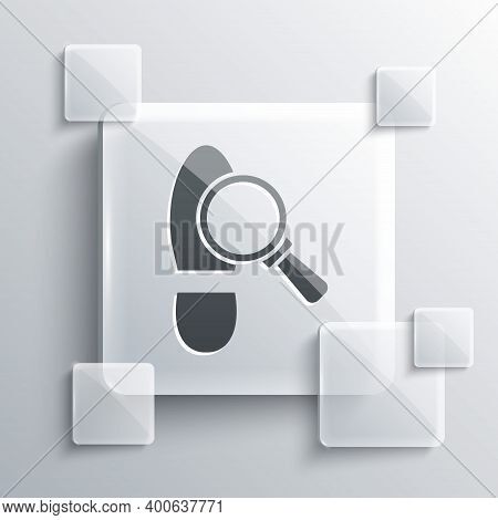 Grey Magnifying Glass With Footsteps Icon Isolated On Grey Background. Detective Is Investigating. T