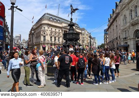 London, Uk - July 7, 2016: People Visit Piccadilly Circus In London. London Is The Most Populous Cit