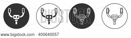 Black Aircraft Steering Helm Icon Isolated On White Background. Aircraft Control Wheel. Circle Butto