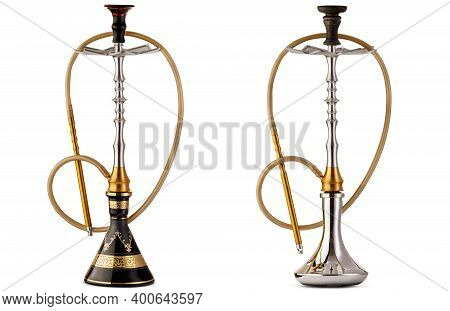 Two Traditional And Modern Turkish Or Arabian Hookah, Isolated On White Background. Handmade Carved