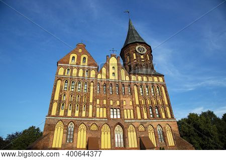 Immanuel Kant Cathedral In Kaliningrad, Russia. Former Konigsberg. The Monument Is A Historic Buildi