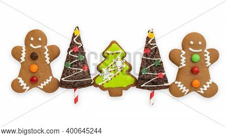 Christmas Cookies, Snowman, X'mas Tree, Gingerbread Isolated On White Background With Clipping Path