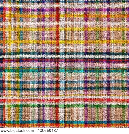 Variegated Multicolor Tapestry Plaid Woven Texture. Space Dyed Watercolor Effect Knit Check Backgrou