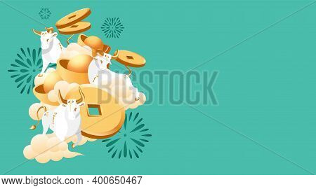 2021 Chinese New Year Of Bull. White Metal Ox With Golden Horns And Hooves. Zodiac Symbol Of Orienta