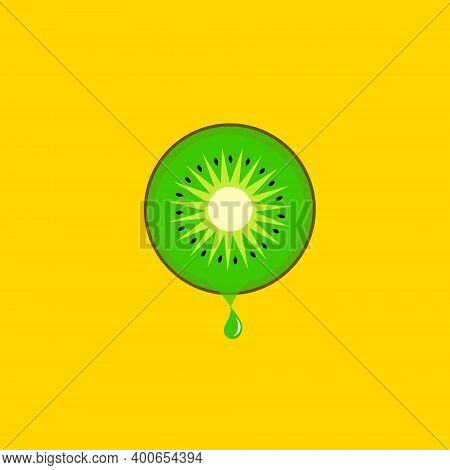 Slice Of Kiwi Dripping Juice Drops On Bright Yellow Background. Tropical Fruits Healthy Plant Based
