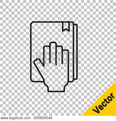 Black Line Oath On The Holy Bible Icon Isolated On Transparent Background. The Procedure In Court. T