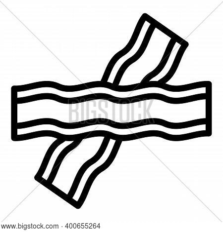 Bacon Slice Icon. Outline Bacon Slice Vector Icon For Web Design Isolated On White Background