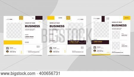Set Of Social Media Post Template For Business Web Conference, Marketing Webinar, Online Education A
