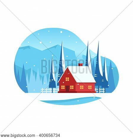 Winter Landscape With Red House In The Mountains And Flat Vector Illustration Of Spruce. Suitable Fo