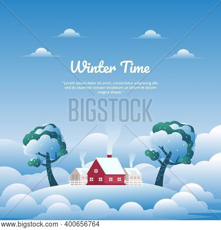 Cute Winter Landscape Vector Illustration With Village In Cloud Land And Red House, Perfect For Wint