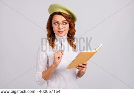 Portrait Of Pretty Brainy Smart Clever Dreamy Minded Wavy-haired Girl Creating New Story Isolated On