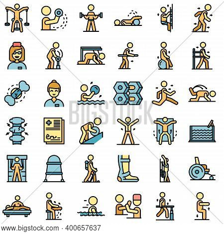 Physical Therapist Icons Set. Outline Set Of Physical Therapist Vector Icons Thin Line Color Flat On