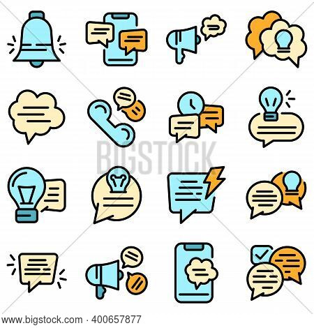 Tips Icons Set. Outline Set Of Tips Vector Icons Thin Line Color Flat On White