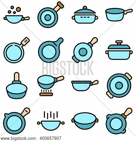 Wok Frying Pan Icons Set. Outline Set Of Wok Frying Pan Vector Icons Thin Line Color Flat On White