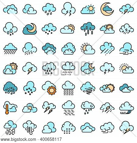 Cloudy Weather Icons Set. Outline Set Of Cloudy Weather Vector Icons Thin Line Color Flat On White