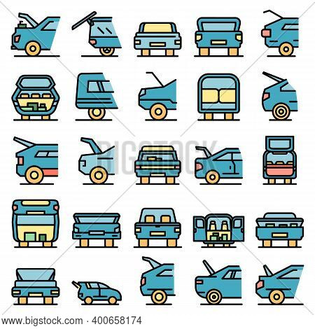 Trunk Car Icons Set. Outline Set Of Trunk Car Vector Icons Thin Line Color Flat On White
