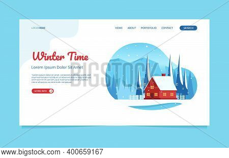Winter Landscape With Red House In The Mountains And Flat Vector Illustration Of Spruce, Perfect For