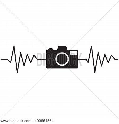 Camera Heartbeat Photographer On White Background. Heartbeat With Camera Sign. Photo Camera Heartbea