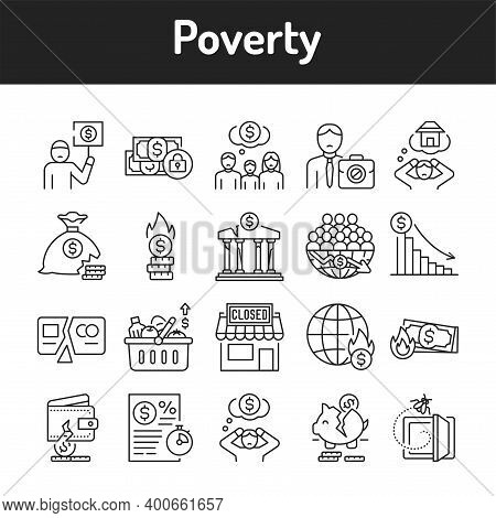 Poverty Color Line Icons Set. Pictograms For Web Page, Mobile App, Promo.