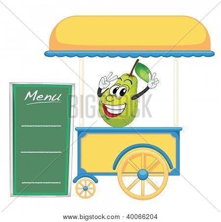 ilustração de uma barraca de carrinho e uma pêra em um fundo branco