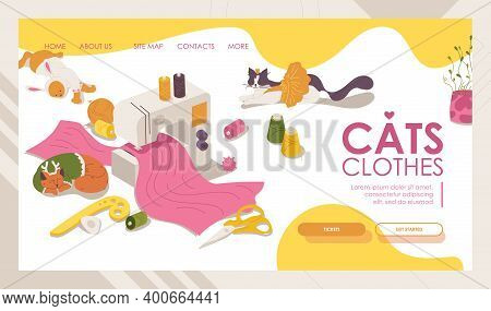 Cats Clothes Concept Landing Page Banner Template. Sewing Machine And Kittens Dressed, Thread, Eleme