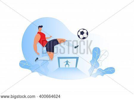 Man Kick Soccer. Footbal.  Football Player Vector, Football Illustration, Sport Background. Football