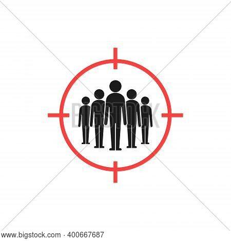 Target Audience Icon, Audience Targeting Vector Isolated Symbol. Team Inside Aim Illustration.