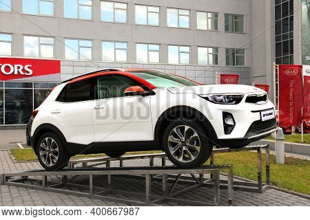 Kiev, Ukraine - April 21, 2020: Kia Stonic Suv In The City. Car For Sale. Wallpaper
