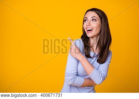 Look Incredible Discounts. Excited Crazy Girl Point Index Finger Copyspace Recommend Suggest Select