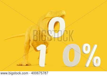 T-rex With White '100%' Sign. 3d Rendering