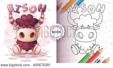 Teddy Bison Animal Coloring Book. Vector Eps 10