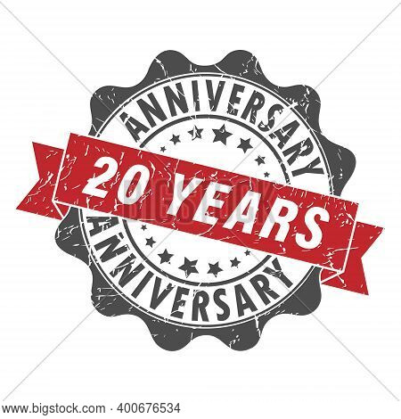 Stamp Impression With The Inscription 20 Years Anniversary. Old Worn Vintage Stamp. Stock Vector Ill