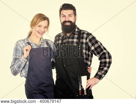 American Food Tradition. Cooking Together. Couple In Love Getting Ready For Barbecue. Man Bearded Gu