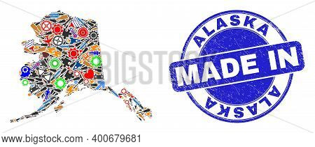 Development Alaska Map Mosaic And Made In Distress Stamp Seal. Alaska Map Collage Designed From Wren