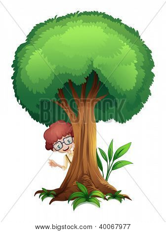illustration of a boy and a tree on a white background