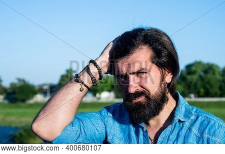 He Got Great Style. Confident And Handsome Guy Spring Portrait. Brutal Bearded Man Wear Casual Shirt
