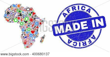 Industrial Mosaic Africa Map And Made In Grunge Rubber Stamp. Africa Map Composition Composed With W