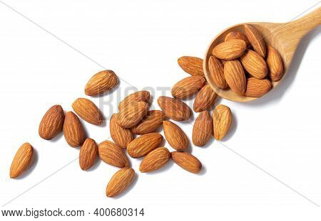 Almonds Floating Pieces On White Isolated .almond  Image Stack Full Depth Of Field Macro Shot
